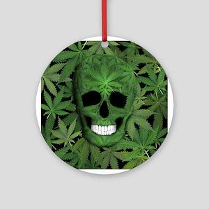 Pot Leaf Skull Ornament (Round)