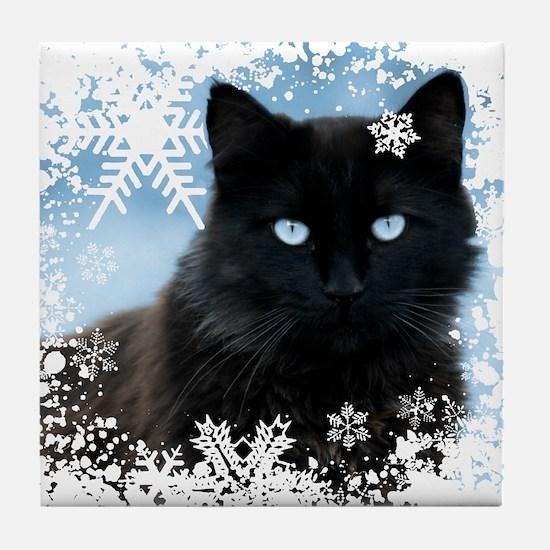 BLACK CAT & SNOWFLAKES (Blue) Tile Coaster