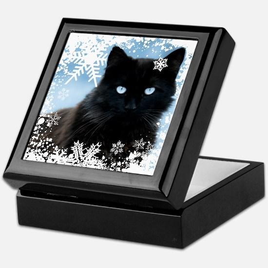 BLACK CAT & SNOWFLAKES (Blue) Keepsake Box