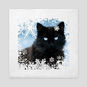 BLACK CAT & SNOWFLAKES (Blue) Queen Duvet