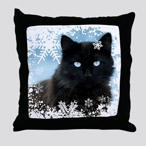 BLACK CAT & SNOWFLAKES (Blue) Throw Pillow