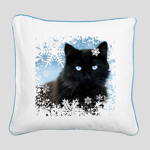 BLACK CAT & SNOWFLAKES (Blue) Square Canvas Pillow