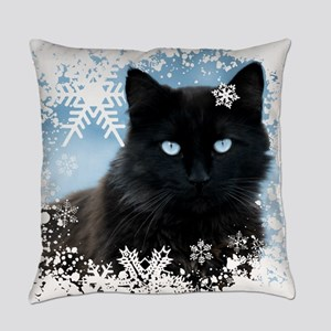 BLACK CAT & SNOWFLAKES (Blue) Everyday Pillow
