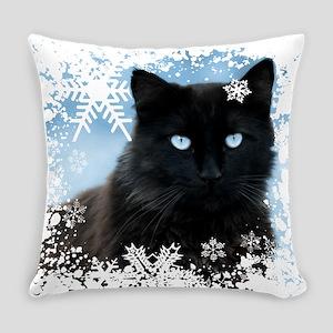 BLACK CAT & SNOWFLAKES (Blue) Everyday Pillow
