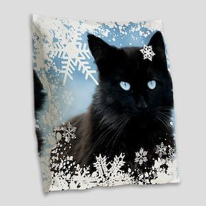 BLACK CAT & SNOWFLAKES (Blue) Burlap Throw Pillow