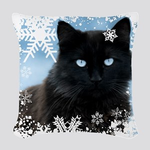 BLACK CAT & SNOWFLAKES (Blue) Woven Throw Pillow
