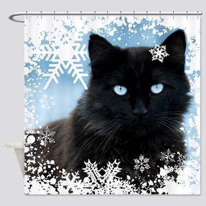 BLACK CAT & SNOWFLAKES (Blue) Shower Curtain