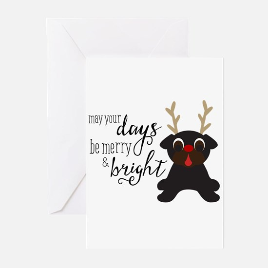 Unique Pugs christmas Greeting Cards (Pk of 10)