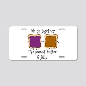 Peanut Butter and Jelly Aluminum License Plate