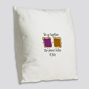 Peanut Butter and Jelly Burlap Throw Pillow