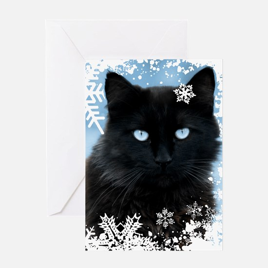 BLACK CAT & SNOWFLAKES (Blue) Greeting Card