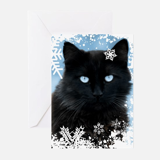 BLACK CAT & SNOWFLAKES ( Greeting Cards (Pk of 20)
