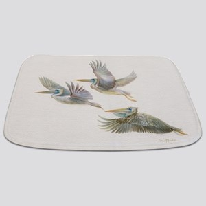 3 pelicans flying Bathmat