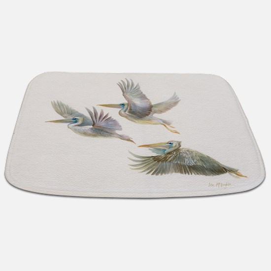 3 pelicans flying Bathmat