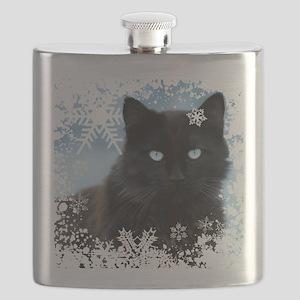 BLACK CAT & SNOWFLAKES (Blue) Flask