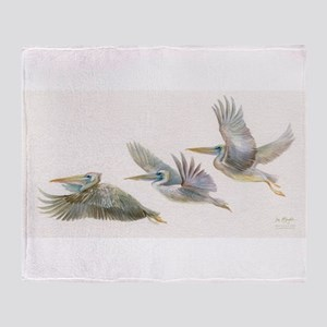 3 pelicans flying Throw Blanket