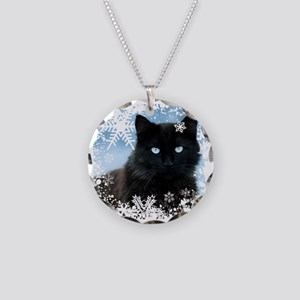 BLACK CAT & SNOWFLAKES (Blue Necklace Circle Charm