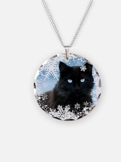 BLACK CAT & SNOWFLAKES (Blue Necklace