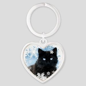 BLACK CAT & SNOWFLAKES (Blue) Heart Keychain