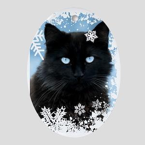 BLACK CAT & SNOWFLAKES (Blue) Oval Ornament