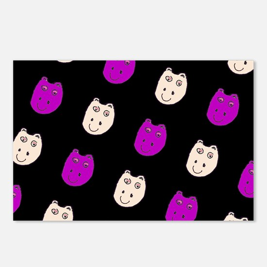 Hippo Ditto Purple Black Postcards (Package of 8)