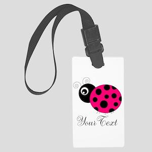 Pesronalizable Pink and Black Ladybug Luggage Tag