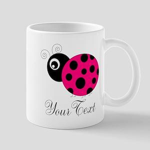 Pesronalizable Pink and Black Ladybug Mugs
