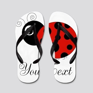 Red and Black Personalizable Ladybug Flip Flops