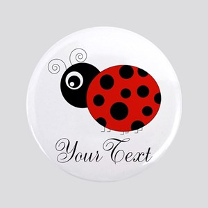 Red and Black Personalizable Ladybug Button