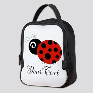 Red and Black Personalizable Ladybug Neoprene Lunc