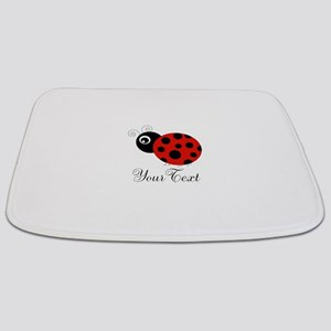 Red and Black Personalizable Ladybug Bathmat