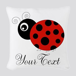 Red and Black Personalizable Ladybug Woven Throw P