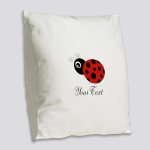 Red and Black Personalizable Ladybug Burlap Throw