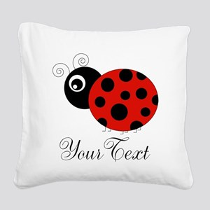 Red and Black Personalizable Ladybug Square Canvas
