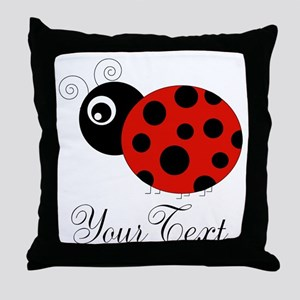 Red and Black Personalizable Ladybug Throw Pillow