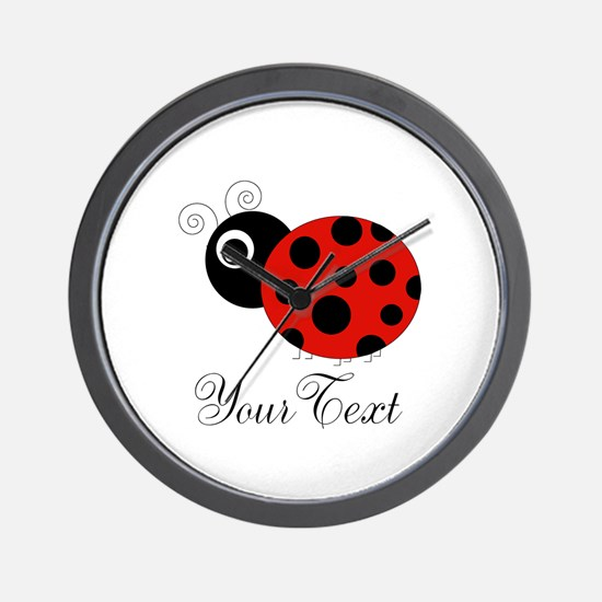 Red and Black Personalizable Ladybug Wall Clock