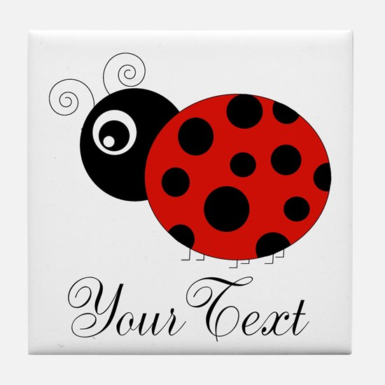 Red and Black Personalizable Ladybug Tile Coaster