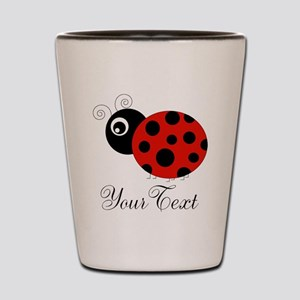 Red and Black Personalizable Ladybug Shot Glass