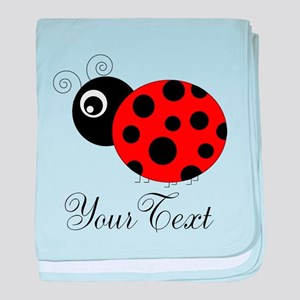 Red and Black Personalizable Ladybug baby blanket