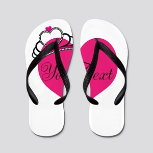 3dea42d617aa7f Personalizable Pink Heart with Crown Flip Flops
