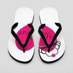3dea42d617aa7f Personalizable Pink Heart with Crown Flip Flops