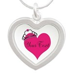 Personalizable Pink Heart with Crown Necklaces