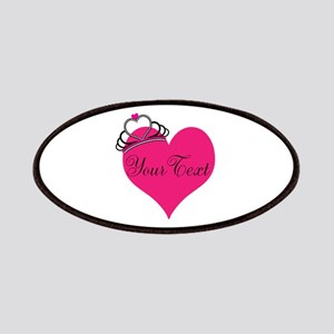 Personalizable Pink Heart with Crown Patch