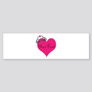 Personalizable Pink Heart with Crown Bumper Sticke