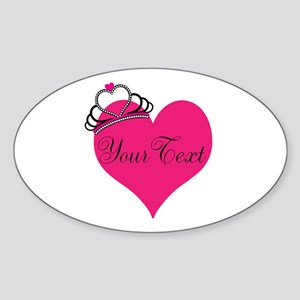 Personalizable Pink Heart with Crown Sticker