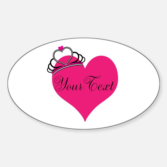 Personalizable Pink Heart with Crown Decal