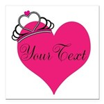 Personalizable Pink Heart with Crown Square Car Ma