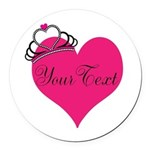 Personalizable Pink Heart with Crown Round Car Mag