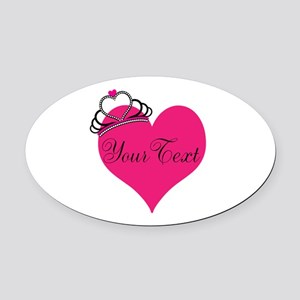 Personalizable Pink Heart with Crown Oval Car Magn