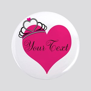 Personalizable Pink Heart with Crown Button